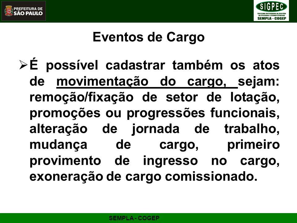 Eventos de Cargo
