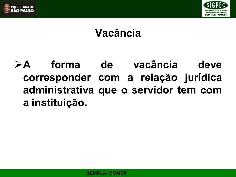 Vacância A forma de vacância deve corresponder com a relação jurídica administrativa que o servidor tem com a instituição.