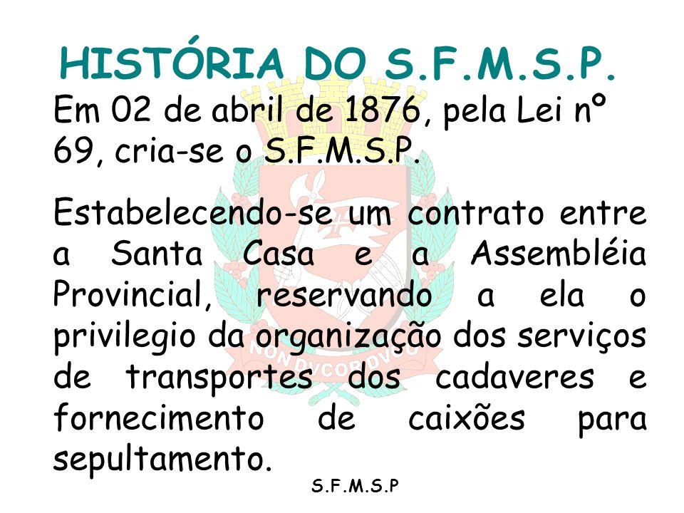 HISTÓRIA DO S.F.M.S.P. Em 02 de abril de 1876, pela Lei nº 69, cria-se o S.F.M.S.P.