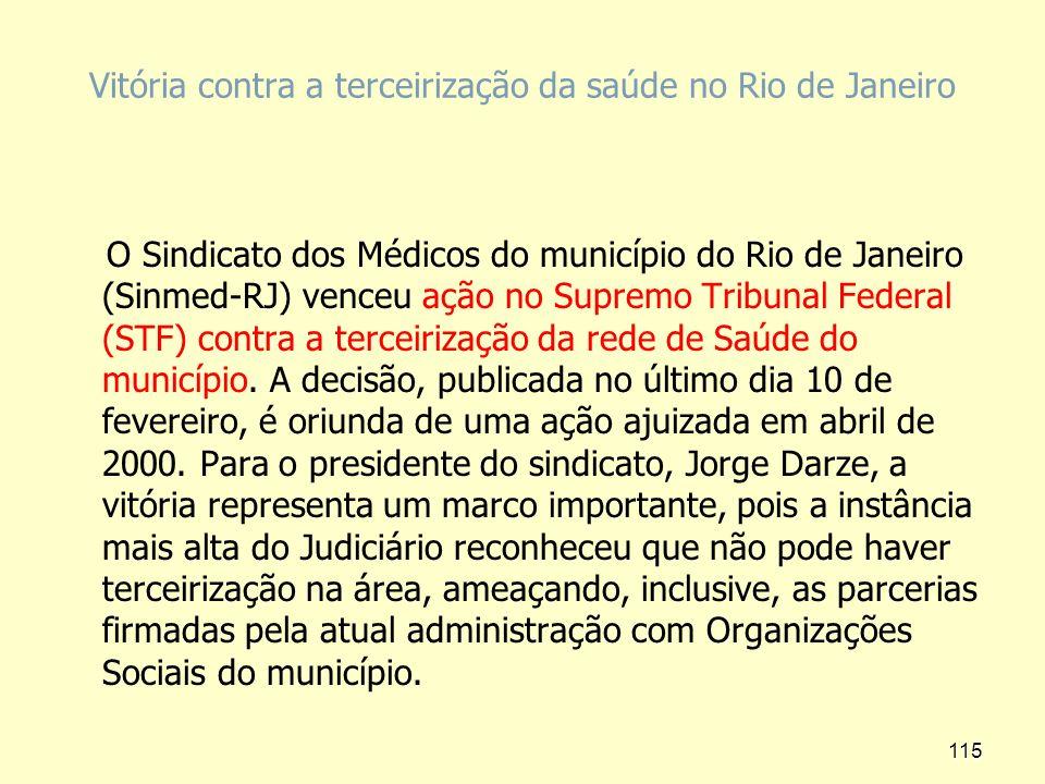 Vitória contra a terceirização da saúde no Rio de Janeiro