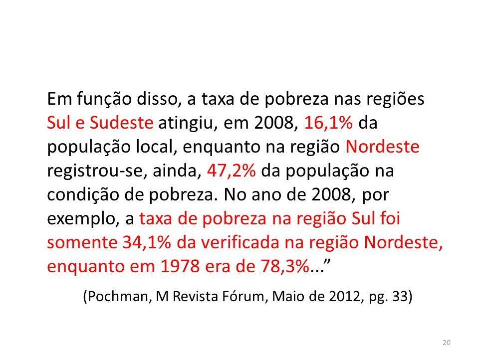 Em função disso, a taxa de pobreza nas regiões Sul e Sudeste atingiu, em 2008, 16,1% da população local, enquanto na região Nordeste registrou-se, ainda, 47,2% da população na condição de pobreza.
