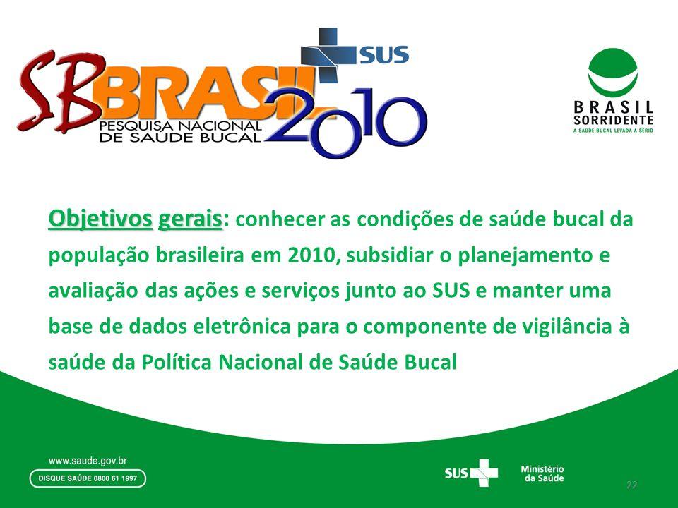 Objetivos gerais: conhecer as condições de saúde bucal da população brasileira em 2010, subsidiar o planejamento e avaliação das ações e serviços junto ao SUS e manter uma base de dados eletrônica para o componente de vigilância à saúde da Política Nacional de Saúde Bucal