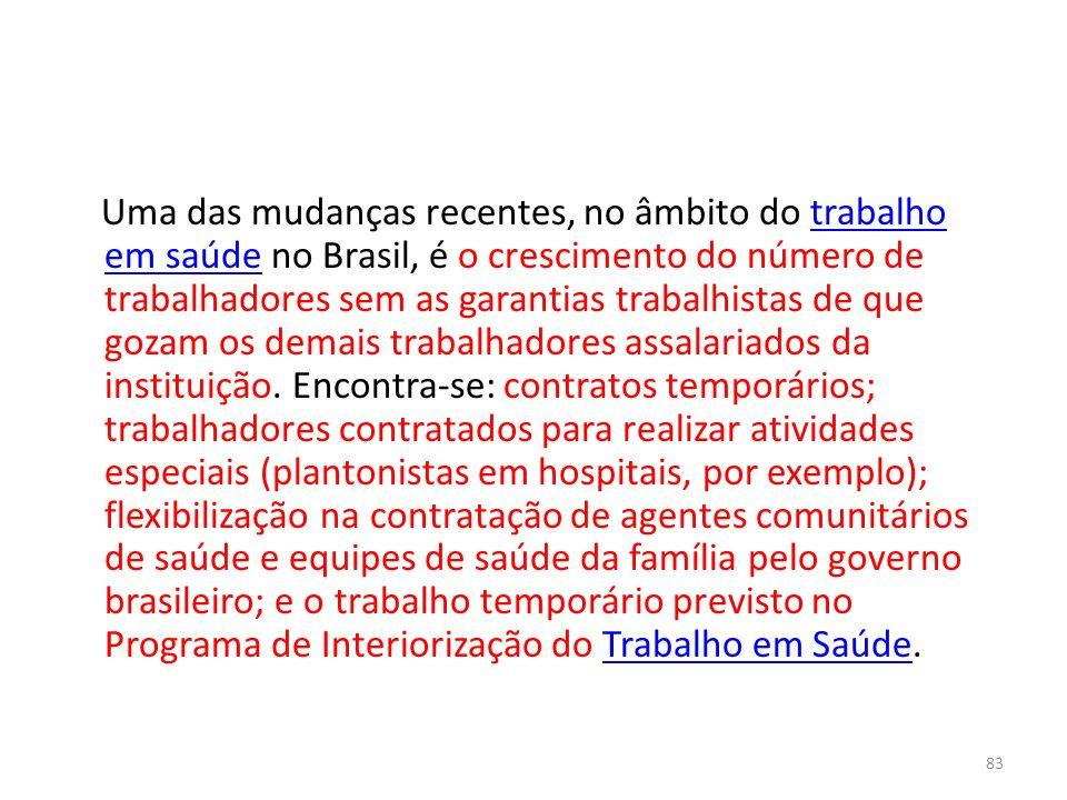 Uma das mudanças recentes, no âmbito do trabalho em saúde no Brasil, é o crescimento do número de trabalhadores sem as garantias trabalhistas de que gozam os demais trabalhadores assalariados da instituição.