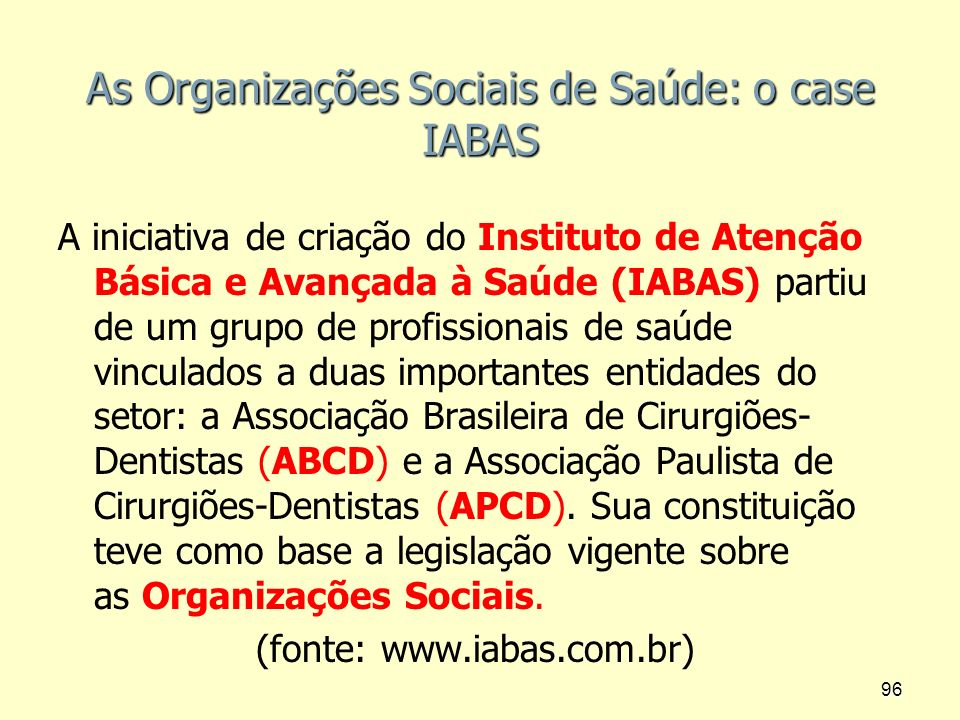 As Organizações Sociais de Saúde: o case IABAS