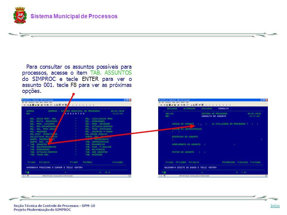 Para consultar os assuntos possíveis para processos, acesse o item TAB