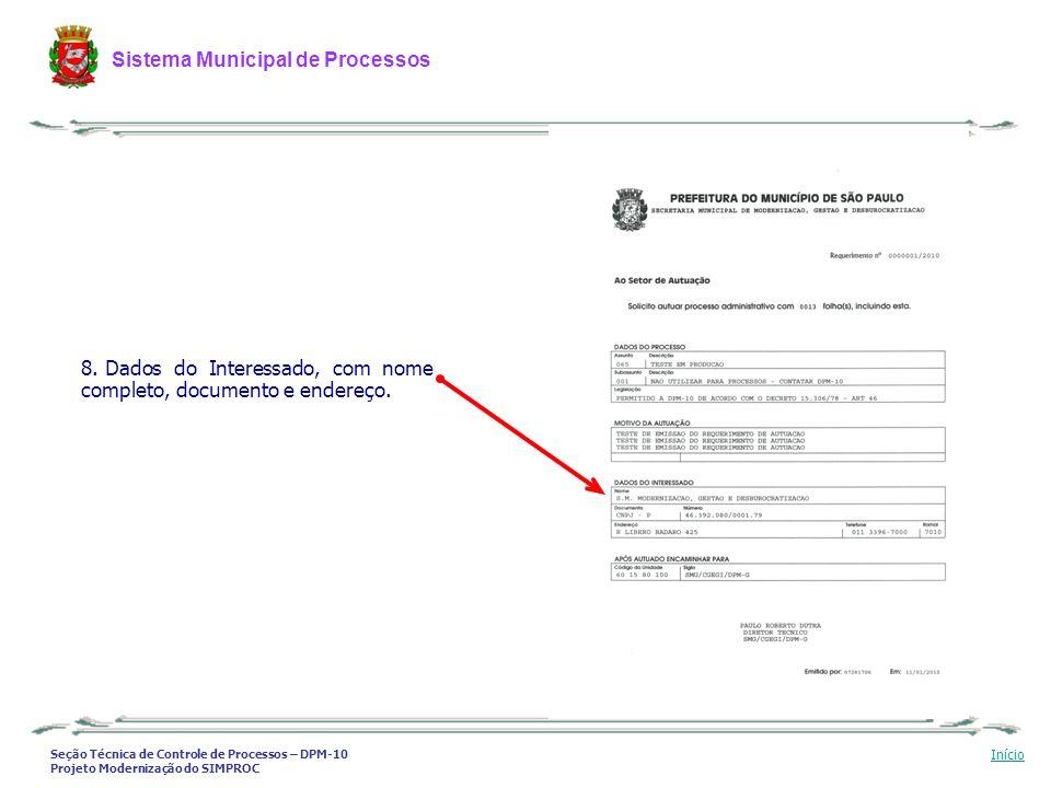 Dados do Interessado, com nome completo, documento e endereço.