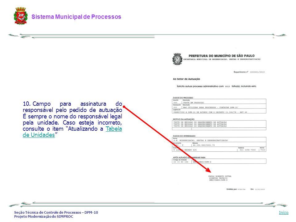 Campo para assinatura do responsável pelo pedido de autuação É sempre o nome do responsável legal pela unidade.
