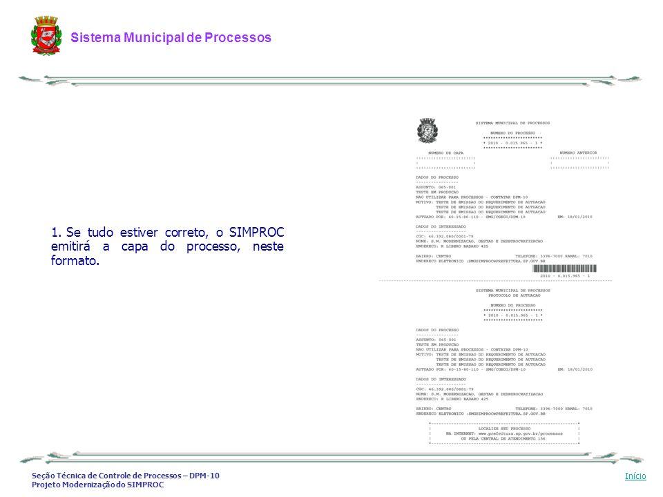 Se tudo estiver correto, o SIMPROC emitirá a capa do processo, neste formato.