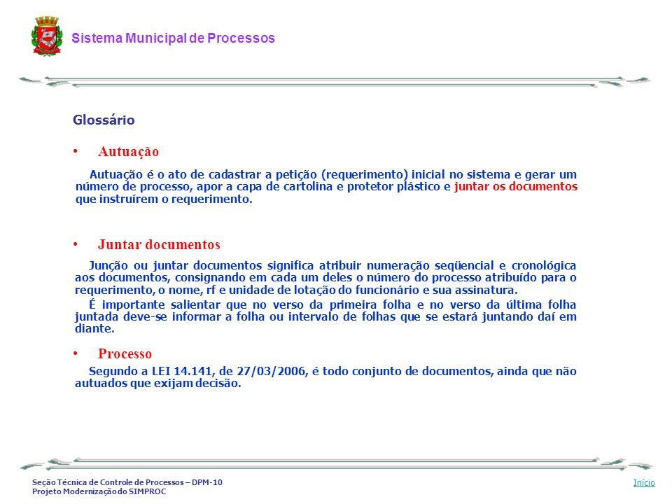 Autuação Juntar documentos Processo Glossário