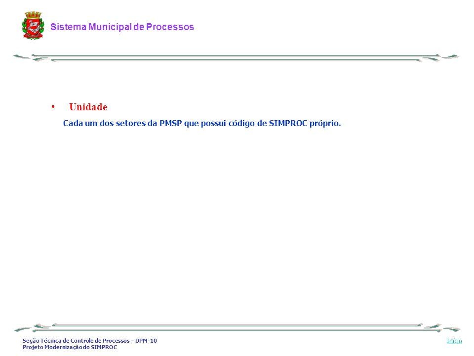 Unidade Cada um dos setores da PMSP que possui código de SIMPROC próprio.