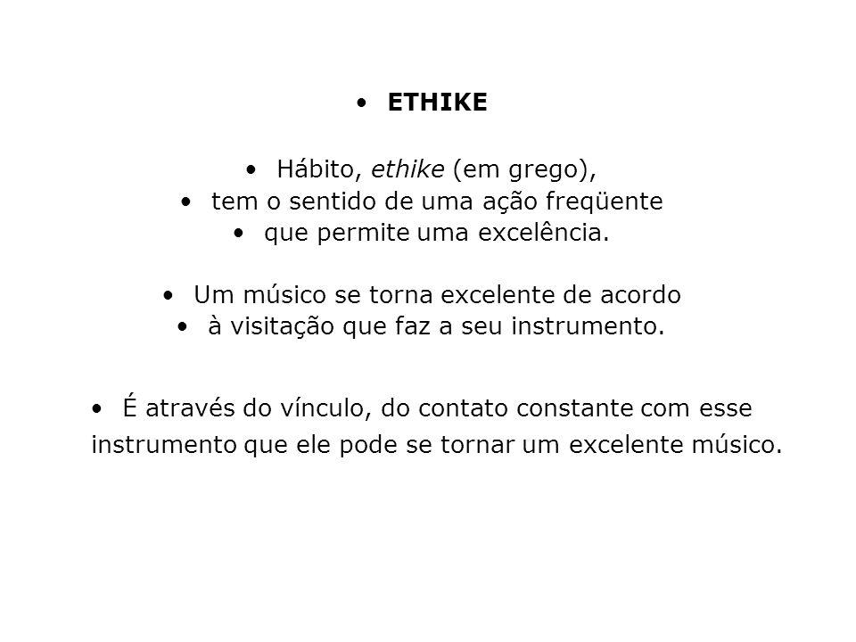 Hábito, ethike (em grego), tem o sentido de uma ação freqüente