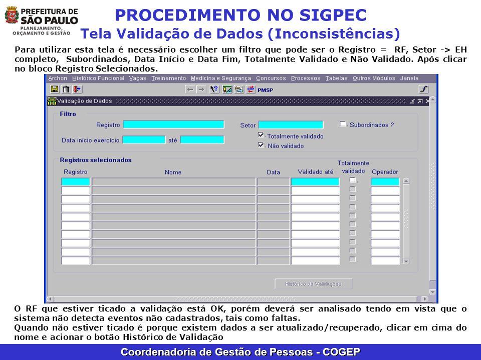 PROCEDIMENTO NO SIGPEC Tela Validação de Dados (Inconsistências)