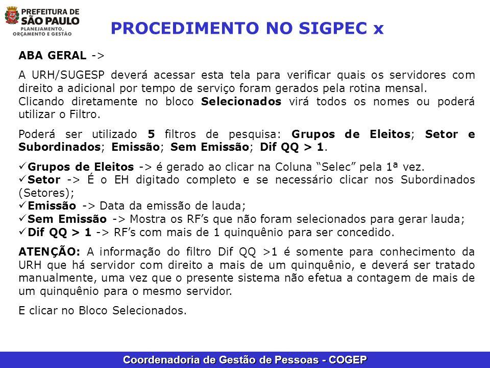 PROCEDIMENTO NO SIGPEC x