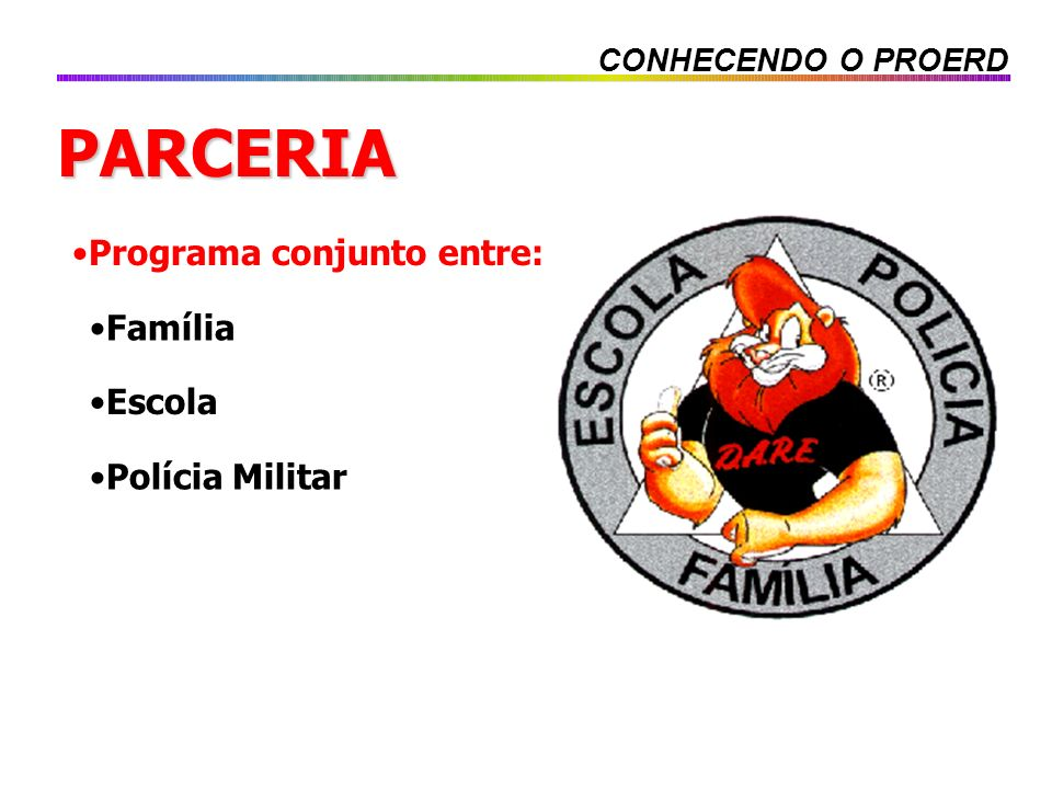 PARCERIA Programa conjunto entre: Família Escola Polícia Militar