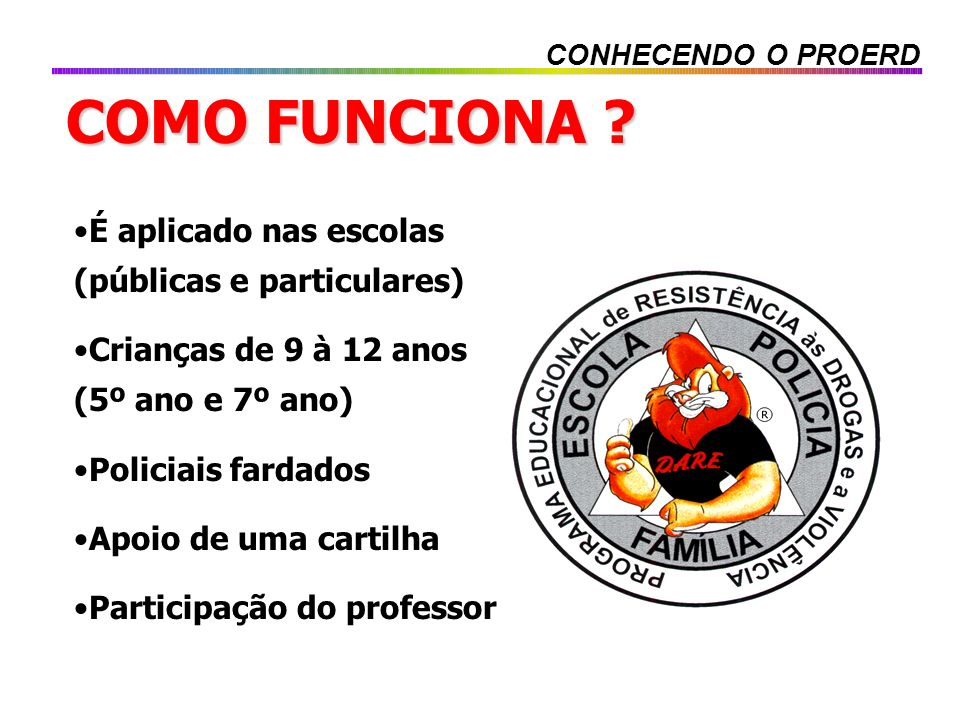 COMO FUNCIONA É aplicado nas escolas (públicas e particulares)