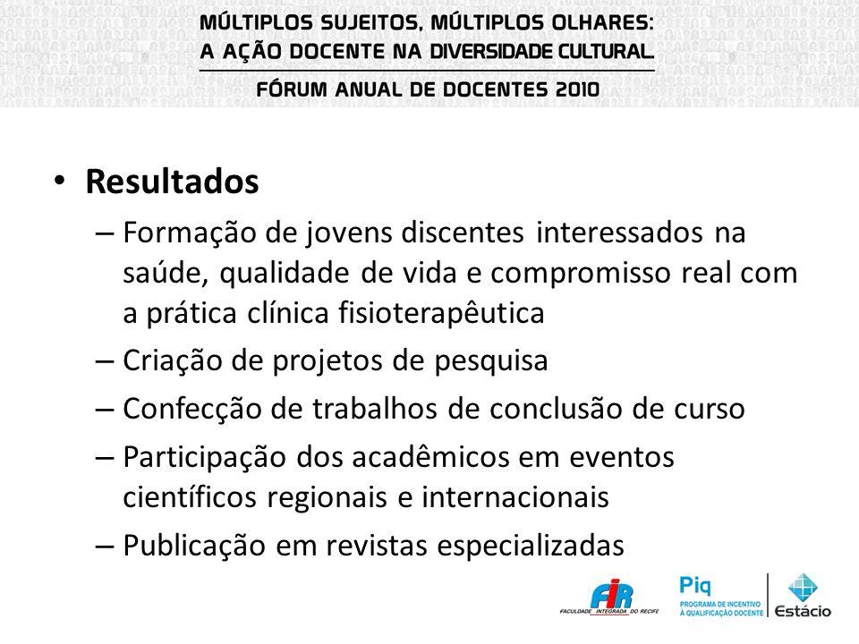 Resultados Formação de jovens discentes interessados na saúde, qualidade de vida e compromisso real com a prática clínica fisioterapêutica.