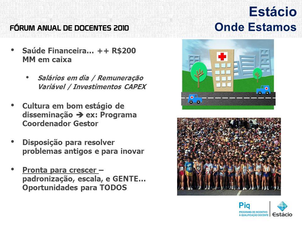 Estácio Onde Estamos Saúde Financeira… ++ R$200 MM em caixa