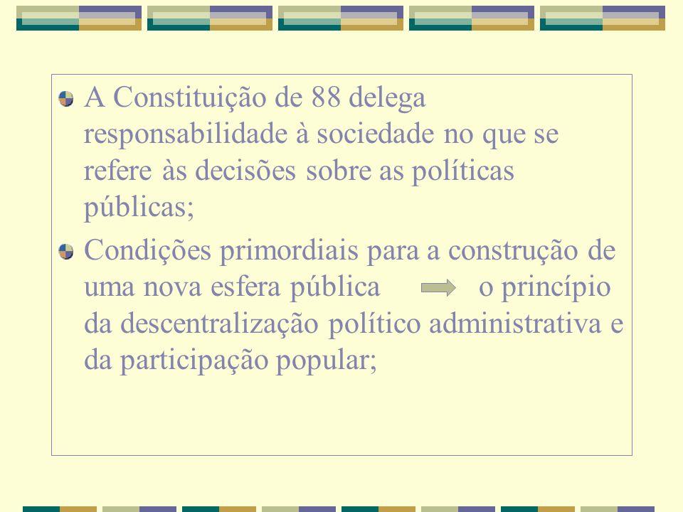 A Constituição de 88 delega responsabilidade à sociedade no que se refere às decisões sobre as políticas públicas;