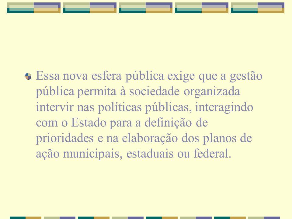 Essa nova esfera pública exige que a gestão pública permita à sociedade organizada intervir nas políticas públicas, interagindo com o Estado para a definição de prioridades e na elaboração dos planos de ação municipais, estaduais ou federal.