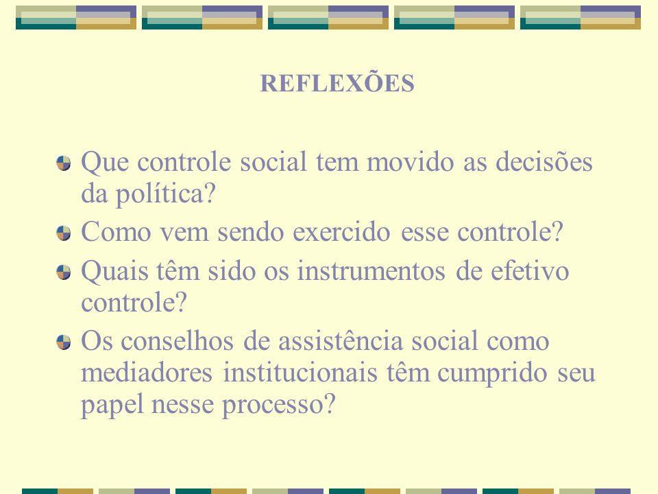 Que controle social tem movido as decisões da política
