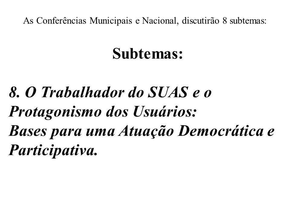 As Conferências Municipais e Nacional, discutirão 8 subtemas: