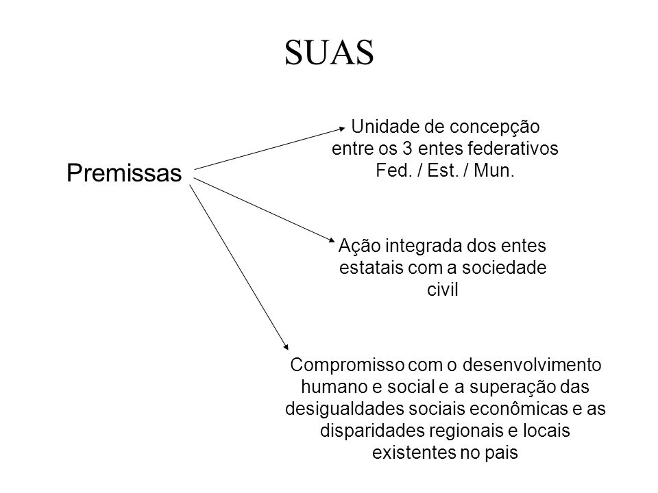 SUAS Unidade de concepção entre os 3 entes federativos Fed. / Est. / Mun. Premissas. Ação integrada dos entes estatais com a sociedade civil.