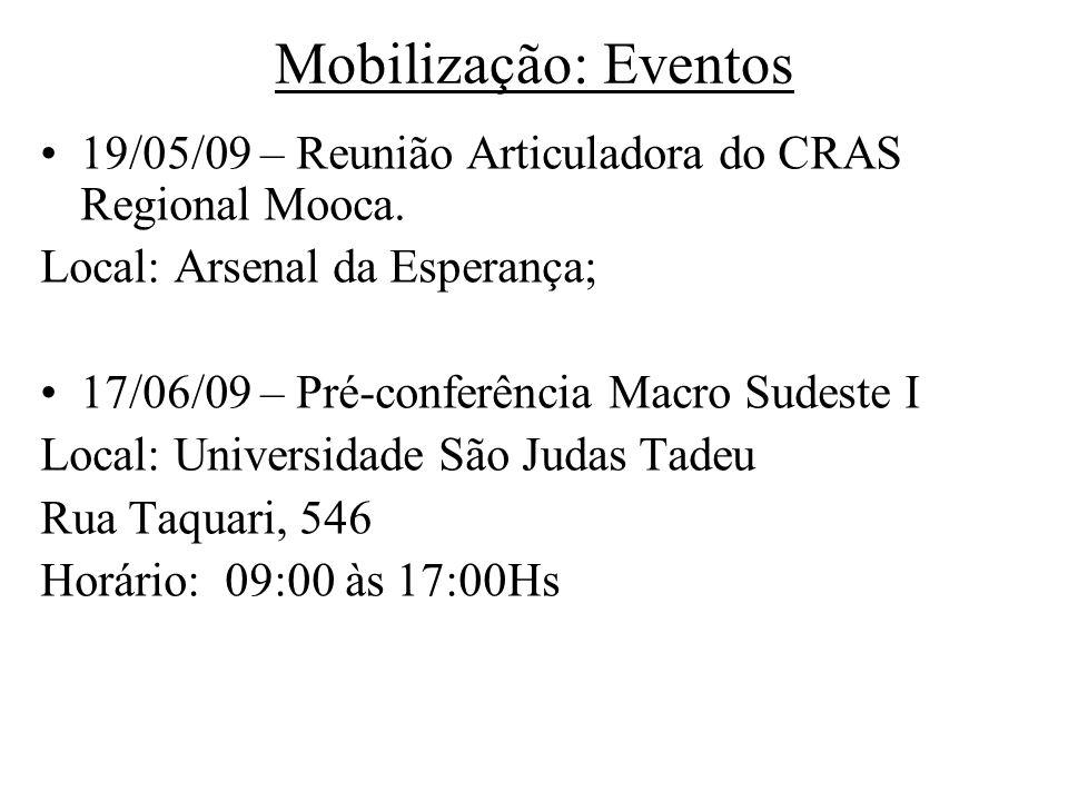 Mobilização: Eventos 19/05/09 – Reunião Articuladora do CRAS Regional Mooca. Local: Arsenal da Esperança;