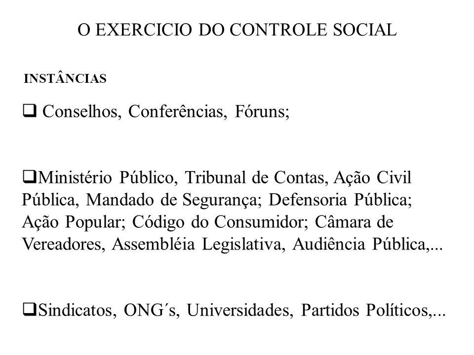 O EXERCICIO DO CONTROLE SOCIAL