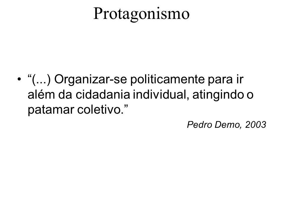 Protagonismo (...) Organizar-se politicamente para ir além da cidadania individual, atingindo o patamar coletivo.