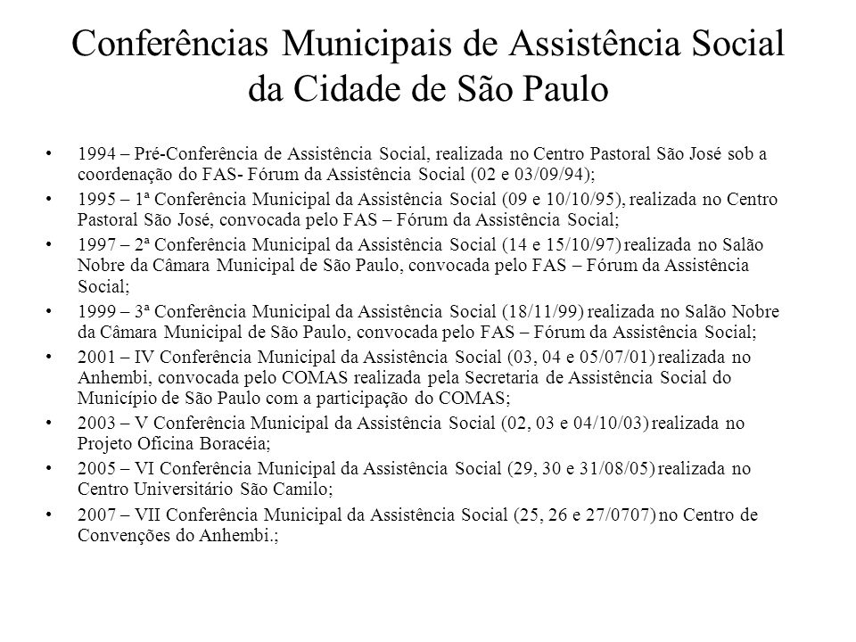 Conferências Municipais de Assistência Social da Cidade de São Paulo