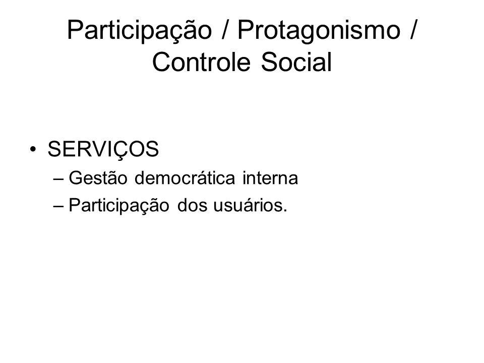 Participação / Protagonismo / Controle Social