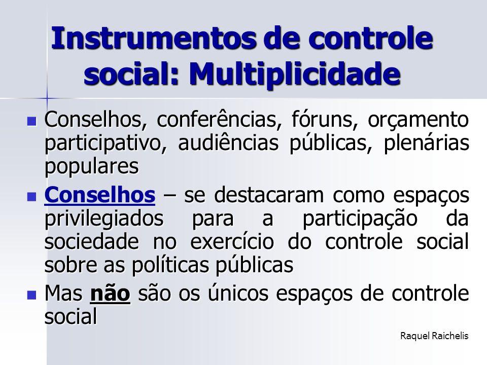 Instrumentos de controle social: Multiplicidade
