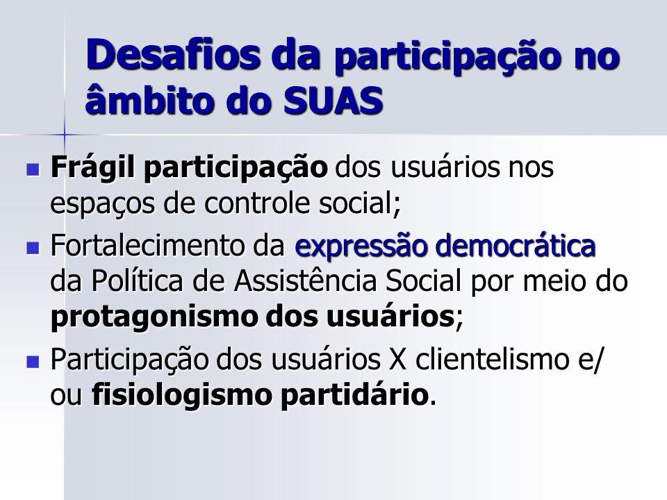 Desafios da participação no âmbito do SUAS