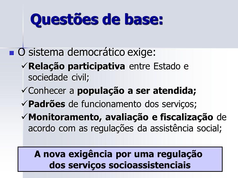 A nova exigência por uma regulação dos serviços socioassistenciais