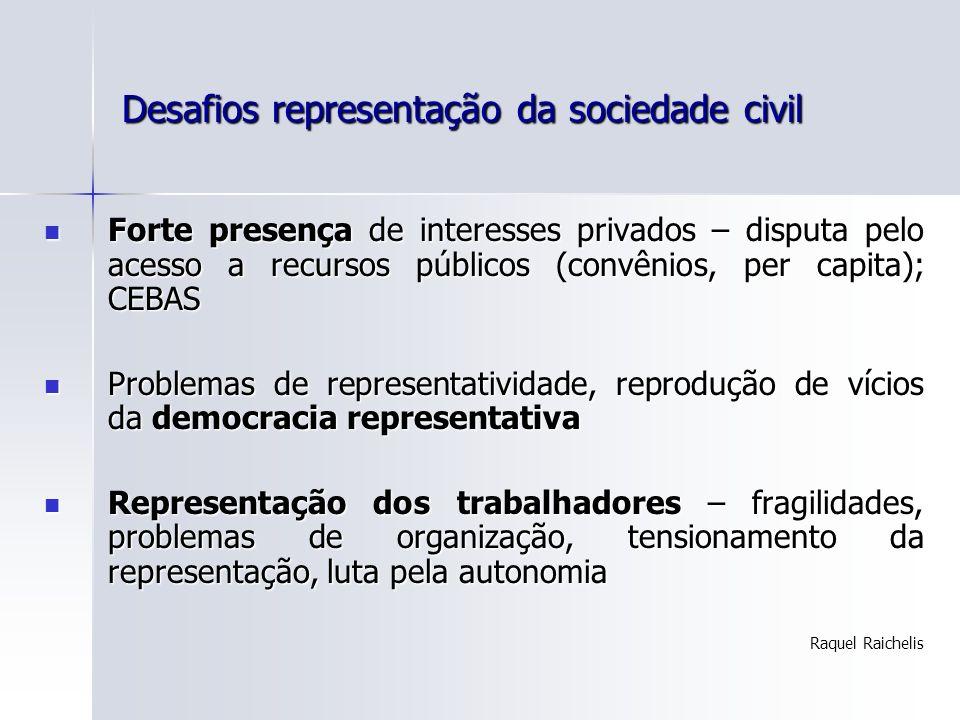 Desafios representação da sociedade civil