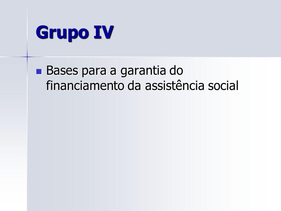 Grupo IV Bases para a garantia do financiamento da assistência social
