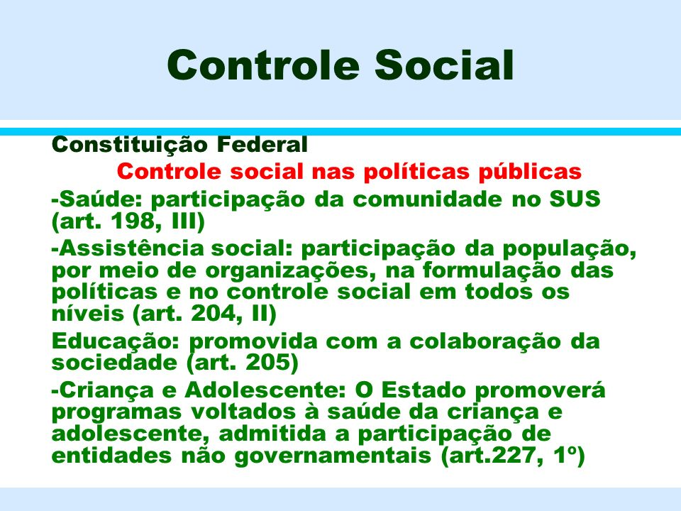 Controle social nas políticas públicas