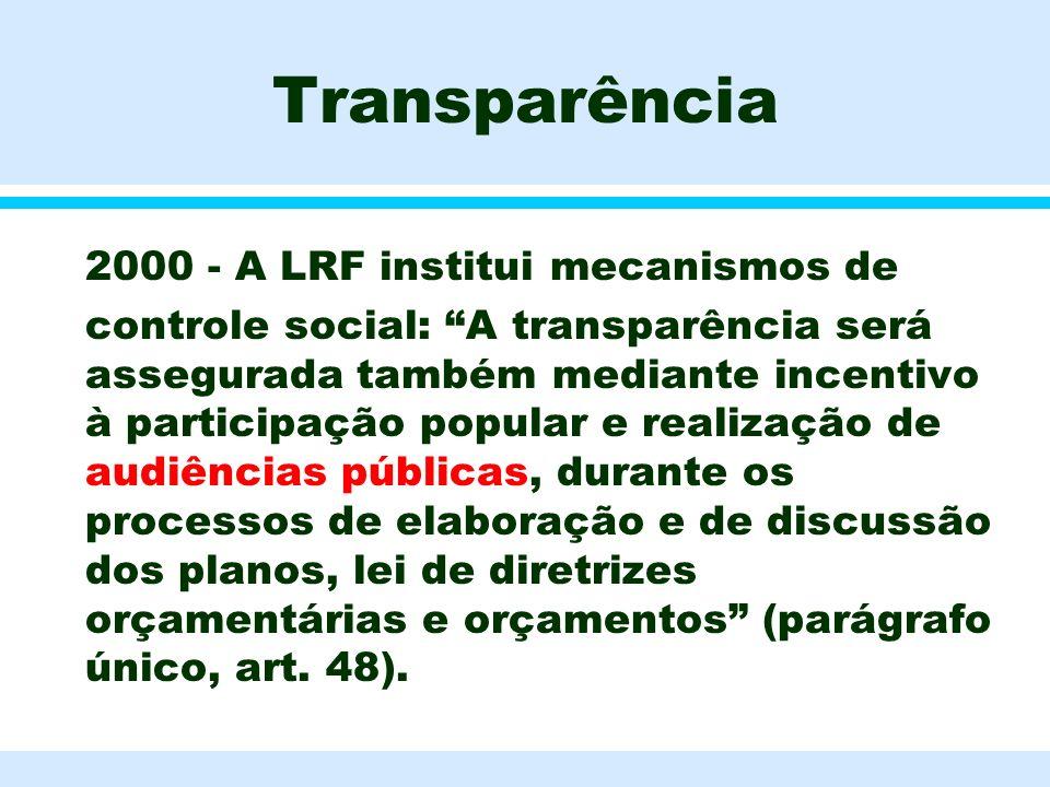 Transparência 2000 - A LRF institui mecanismos de