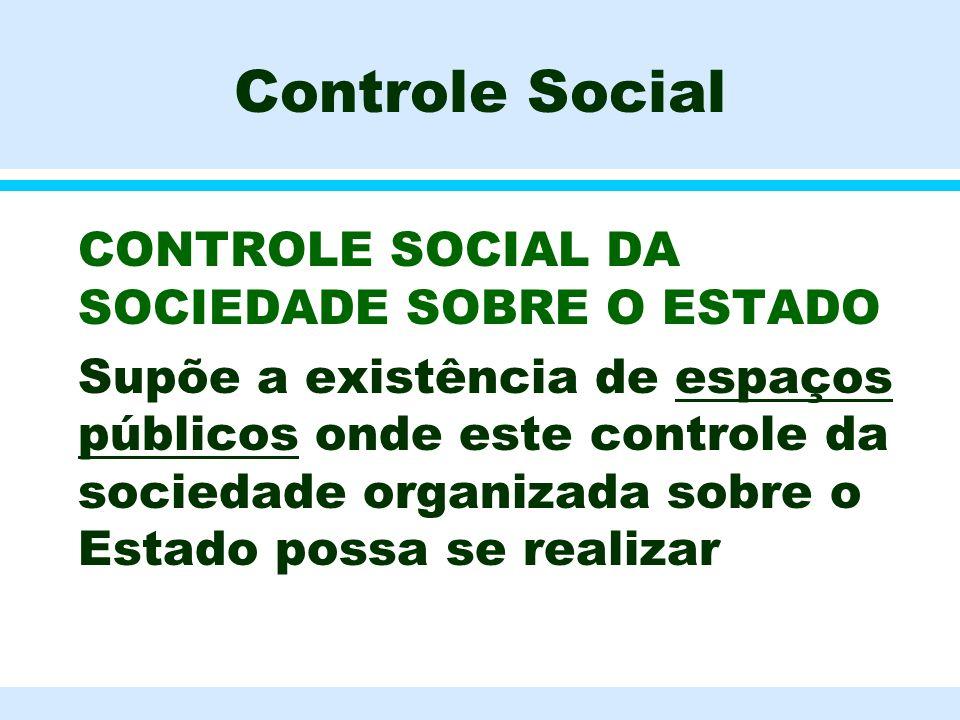 Controle Social CONTROLE SOCIAL DA SOCIEDADE SOBRE O ESTADO