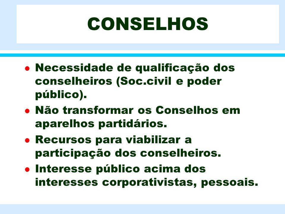 CONSELHOS Necessidade de qualificação dos conselheiros (Soc.civil e poder público). Não transformar os Conselhos em aparelhos partidários.