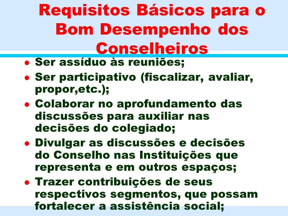 Requisitos Básicos para o Bom Desempenho dos Conselheiros