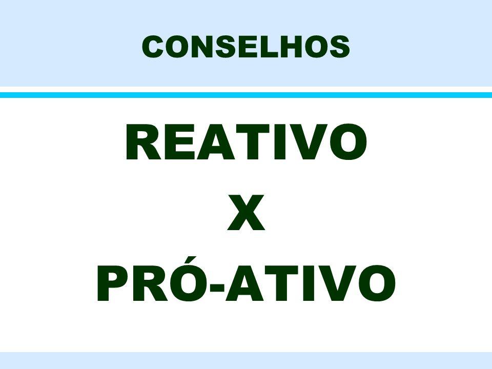 CONSELHOS REATIVO X PRÓ-ATIVO