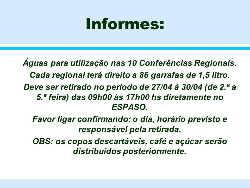 Informes: Águas para utilização nas 10 Conferências Regionais.