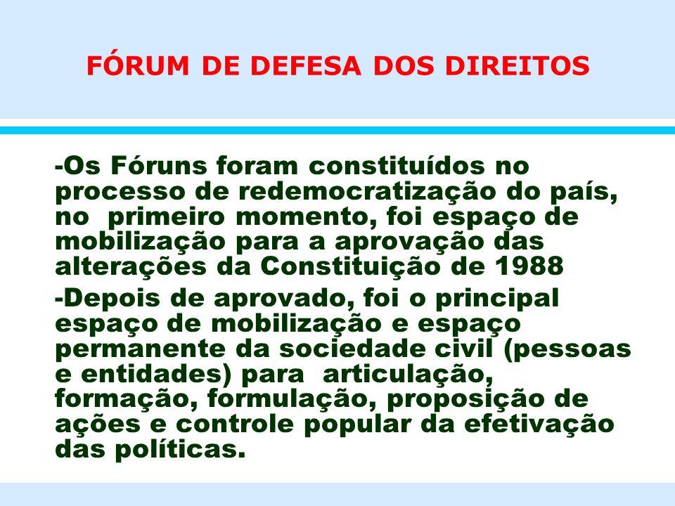 FÓRUM DE DEFESA DOS DIREITOS