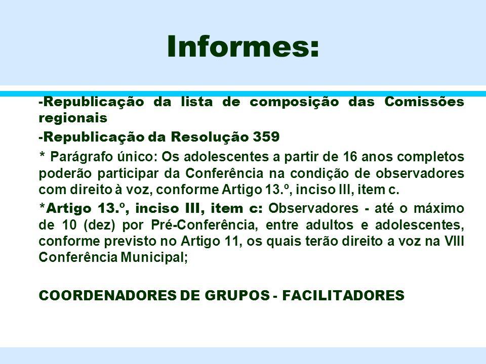 Informes: -Republicação da lista de composição das Comissões regionais