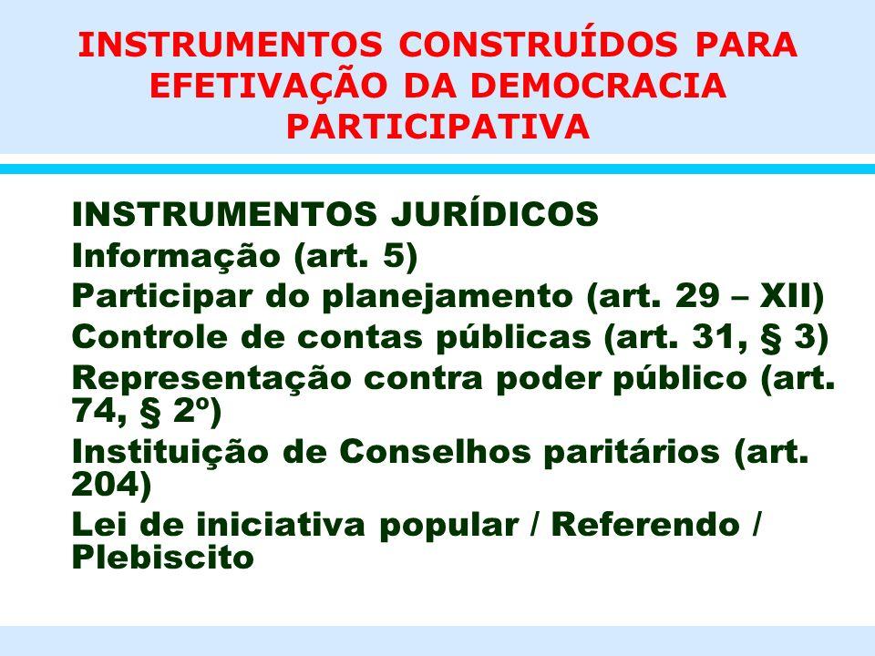 INSTRUMENTOS CONSTRUÍDOS PARA EFETIVAÇÃO DA DEMOCRACIA PARTICIPATIVA