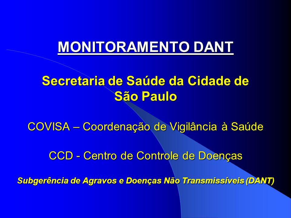 MONITORAMENTO DANT Secretaria de Saúde da Cidade de São Paulo COVISA – Coordenação de Vigilância à Saúde CCD - Centro de Controle de Doenças Subgerência de Agravos e Doenças Não Transmissíveis (DANT)