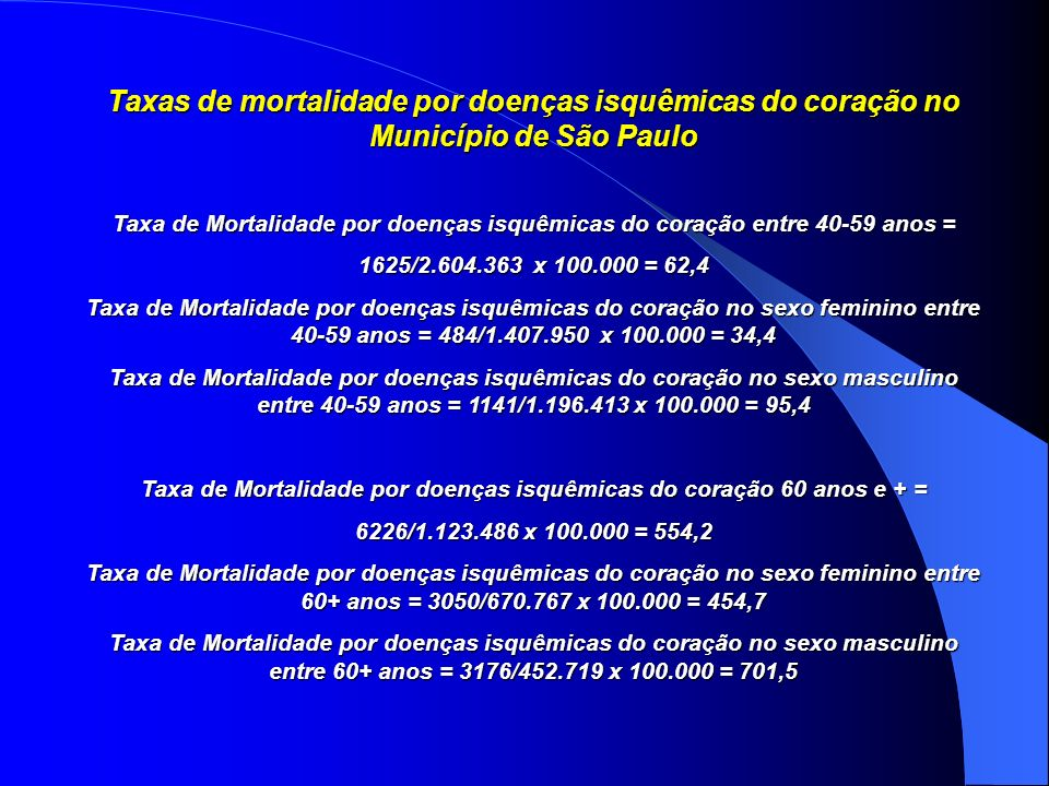 Taxa de Mortalidade por doenças isquêmicas do coração 60 anos e + =