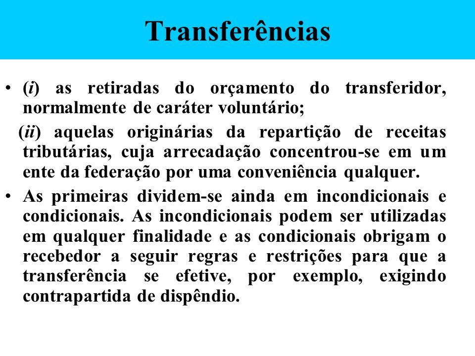 Transferências (i) as retiradas do orçamento do transferidor, normalmente de caráter voluntário;