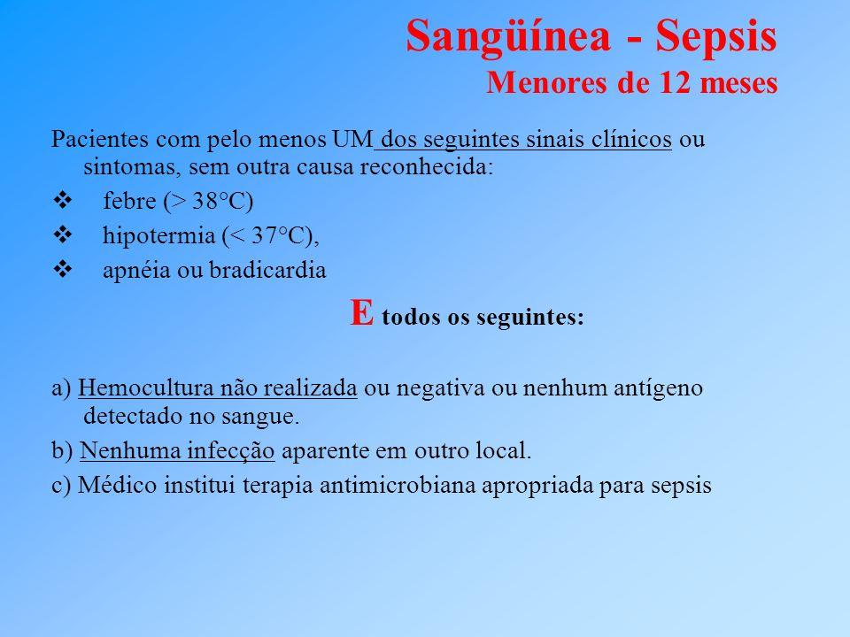 Sangüínea - Sepsis Menores de 12 meses